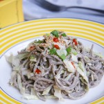 cold soba noodle salad with tahini dressing
