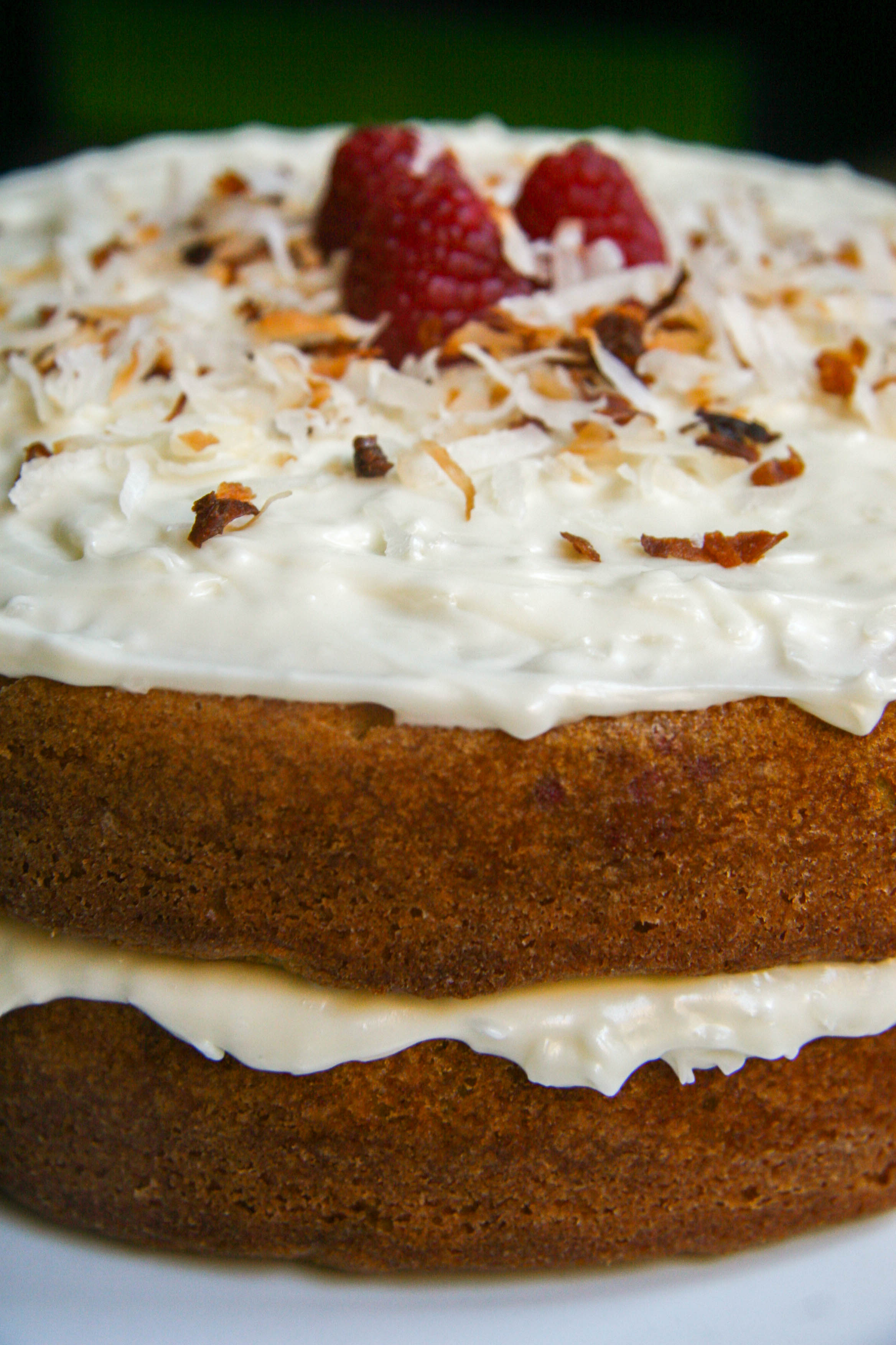 raspberry lime buttermilk cake with coconut cream cheese frosting-assembled cake4