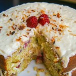 raspberry lime buttermilk cake with coconut cream cheese frosting