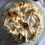 chocolate buttermilk cake with tangerine curd and toasted meringue