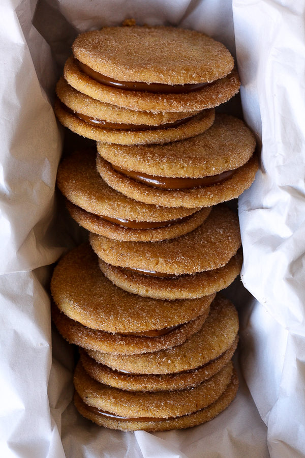 stack of dolce de leche cookies