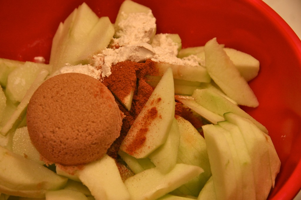 While the dough is chilling, prepare the apples.