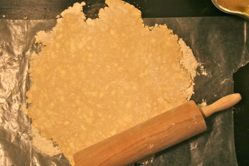 When the dough is firm, roll it out on a floured surface. You can tell this will be flaky because you can see the butter!