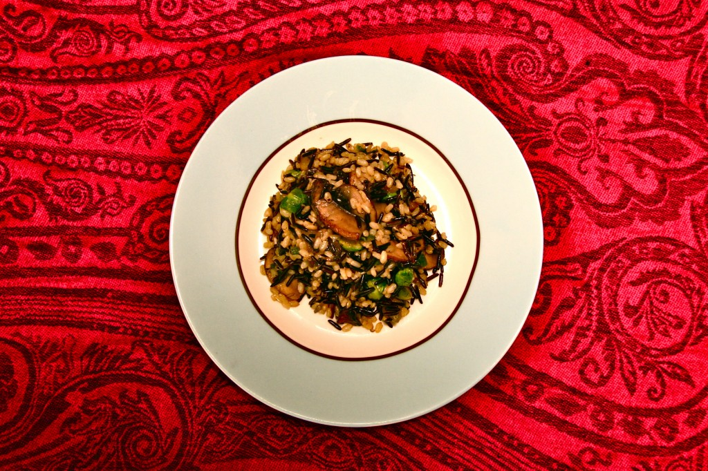 brown and wild rice with mushrooms and brussels1