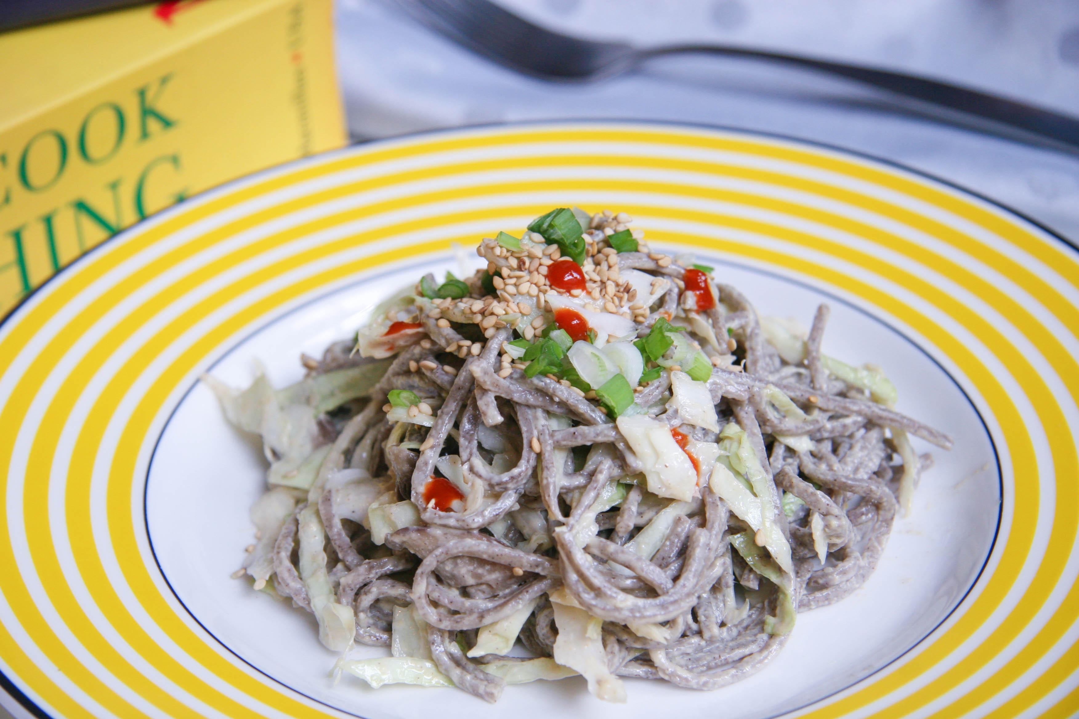 soba noodle salad on plate
