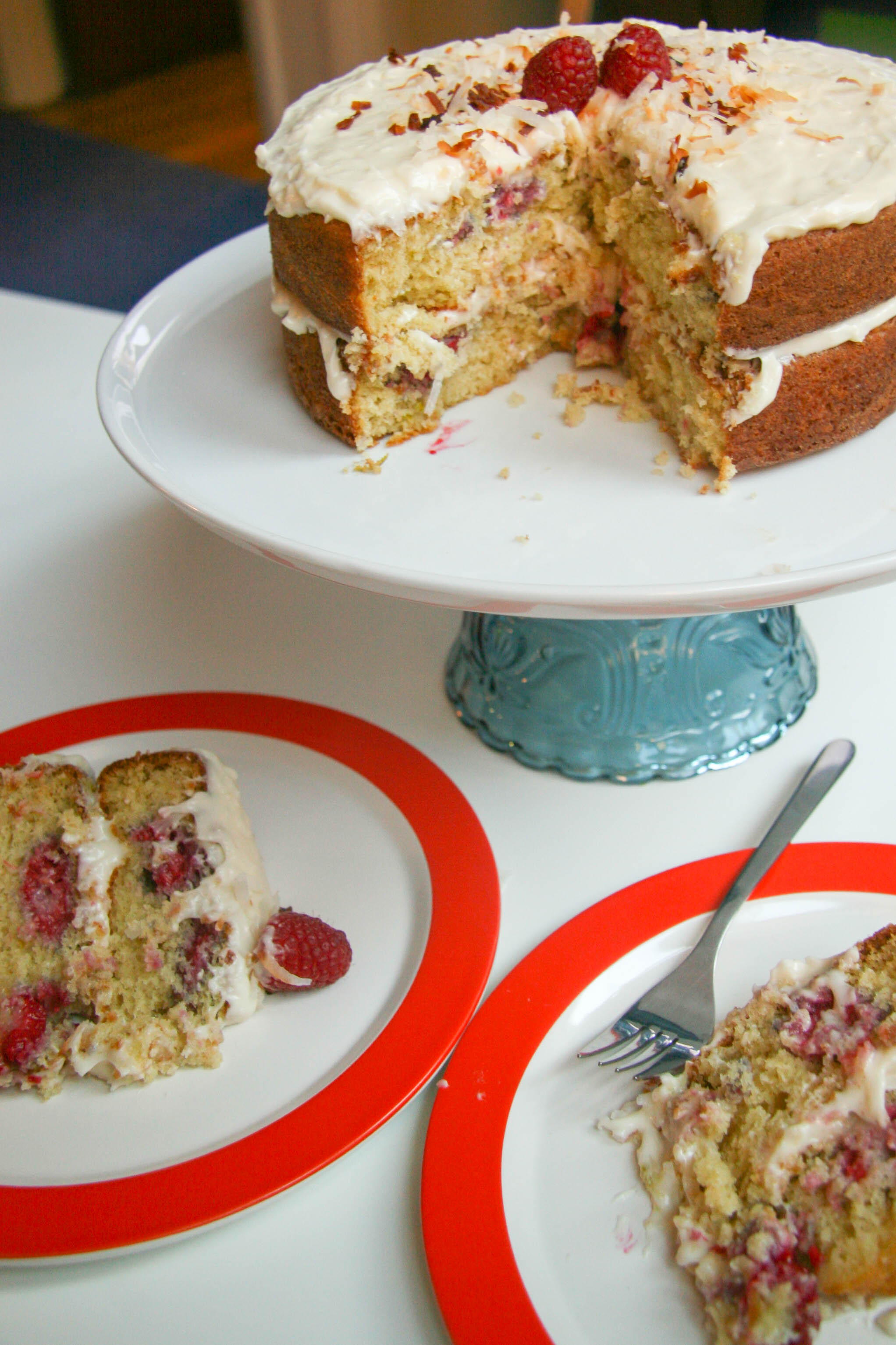 raspberry lime buttermilk cake with coconut cream cheese frosting-assembled cake7