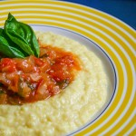homemade sweet corn polenta with tomato onion ragoût