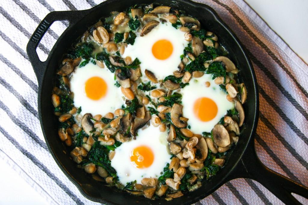 white bean spinach mushroom egg bake 2
