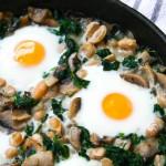 white bean, spinach and mushroom egg bake