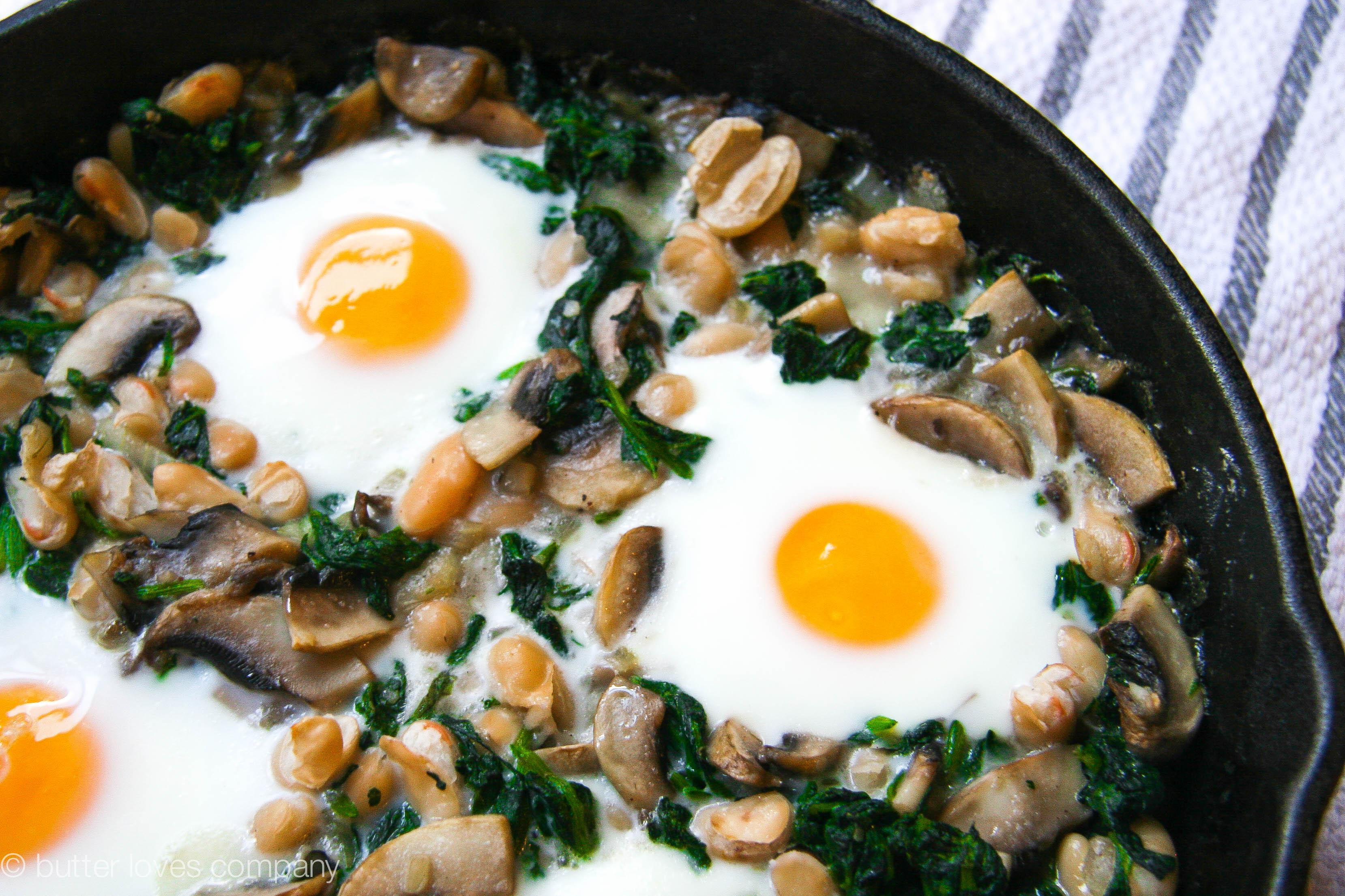 white bean spinach mushroom egg bake 3